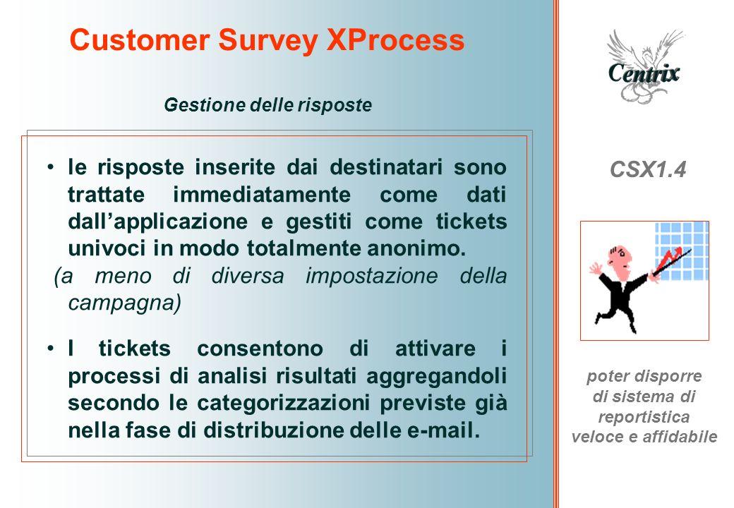 Customer Survey XProcess CSX1.4 poter disporre di sistema di reportistica veloce e affidabile Gestione delle risposte le risposte inserite dai destina