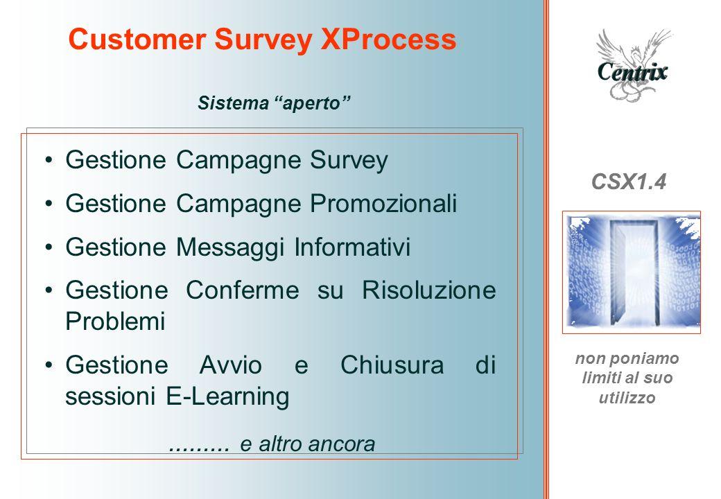 Customer Survey XProcess CSX1.4 non poniamo limiti al suo utilizzo Sistema aperto Gestione Campagne Survey Gestione Campagne Promozionali Gestione Mes