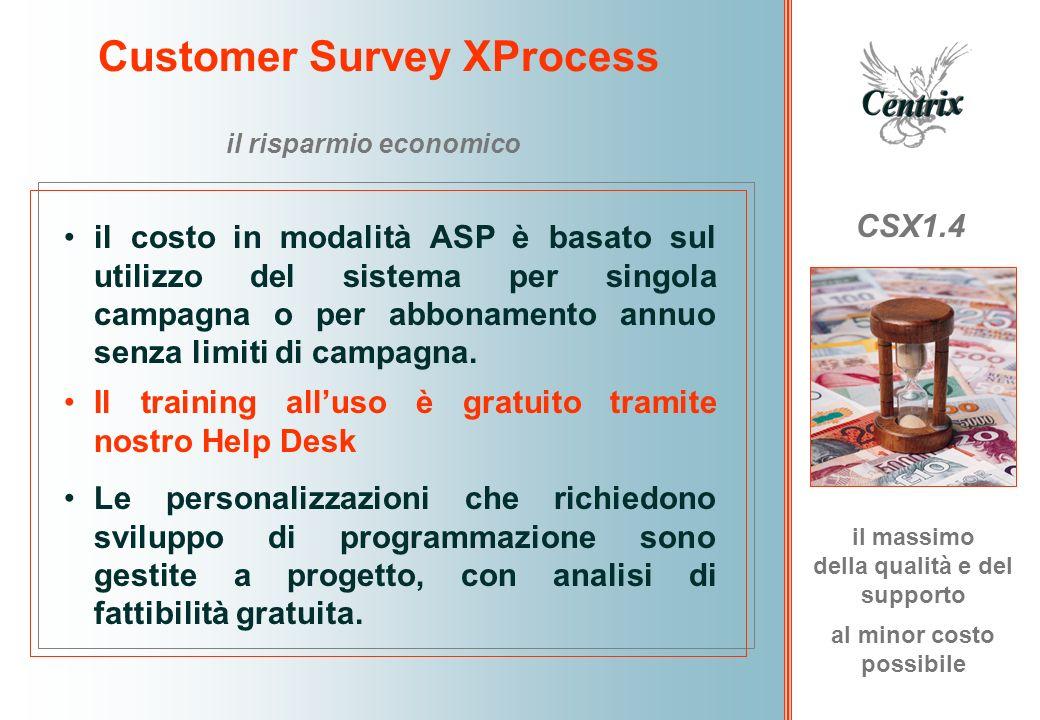 Customer Survey XProcess CSX1.4 il risparmio economico il costo in modalità ASP è basato sul utilizzo del sistema per singola campagna o per abbonamen