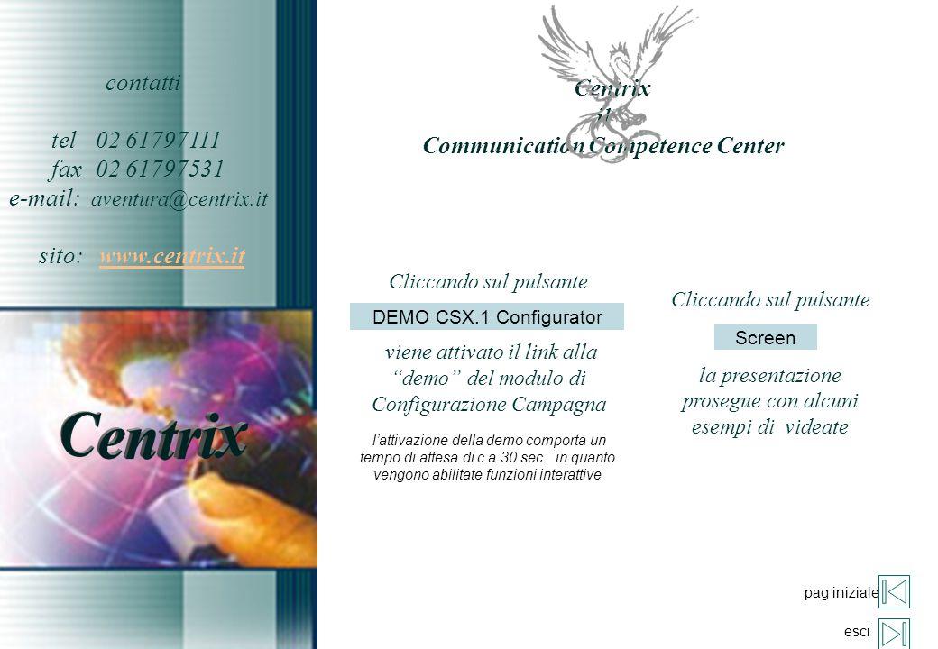 contatti tel02 61797111 fax02 61797531 e-mail: aventura@centrix.it sito: www.centrix.itwww.centrix.it Cliccando sul pulsante viene attivato il link al