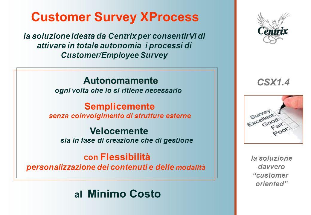 Customer Survey XProcess CSX 1.4 una soluzione realizzata con architettura standard professionale è realizzato con architettura Remedy/BMC Integrabile sul vostro Remedy se lo avete già in casa a prescindere dalla versione in uso Accessibile in modalità ASP (via web) per il tempo che Vi necessita quando Vi necessita