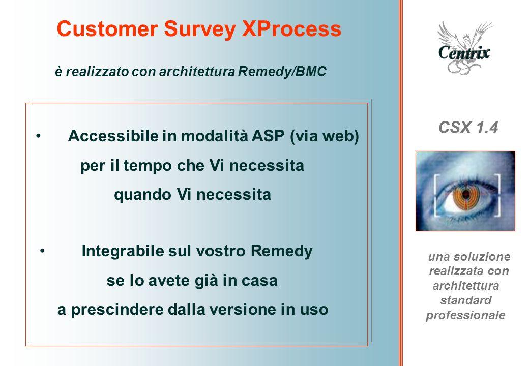 Customer Survey XProcess CSX 1.4 una soluzione realizzata con architettura standard professionale è realizzato con architettura Remedy/BMC Integrabile