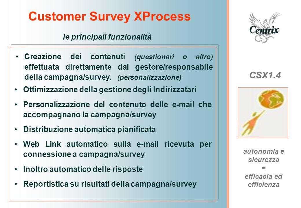 Customer Survey XProcess CSX1.4 la libertà di attivare il processo quando necessita e come si vuole Personalizzazione effettuata da Voi stessi Struttura predisposta per inserire i contenuti delle domande o dei testi che intendete inviare Potete configurare la tipologia del messaggio e-mail che desiderate unire al questionario Potete impostare per tutti o solo per alcuni quesiti una risposta selezionabile Potete decidere a quali quesiti associare una risposta libera Potete organizzare i quesiti secondo criteri di ruolo, responsabilità, geografia, prodotto, etc