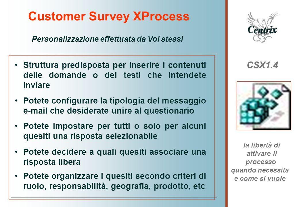 Customer Survey XProcess CSX1.4 la libertà di attivare il processo quando necessita e come si vuole Personalizzazione effettuata da Voi stessi Struttu