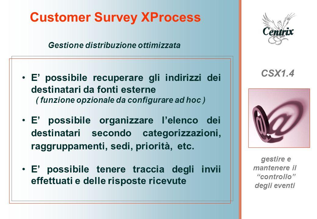 Customer Survey XProcess CSX1.4 gestire e mantenere il controllo degli eventi Gestione distribuzione ottimizzata E possibile recuperare gli indirizzi