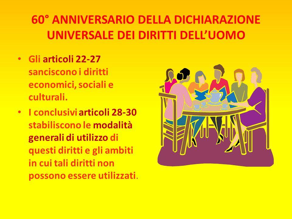 60° ANNIVERSARIO DELLA DICHIARAZIONE UNIVERSALE DEI DIRITTI DELLUOMO Gli articoli 18-21 sanciscono le cosiddette