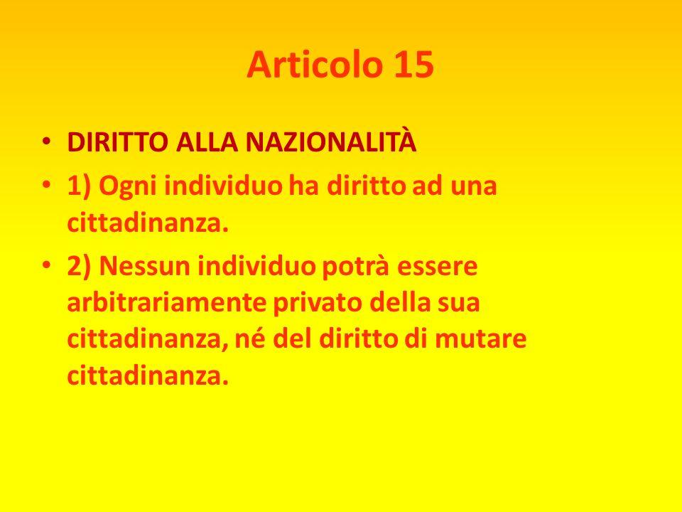 Articolo 14 DIRITTO DI ASILO 1 ) Ogni individuo ha il diritto di cercare e di godere in altri paesi asilo dalle persecuzioni. 2) Questo diritto non po