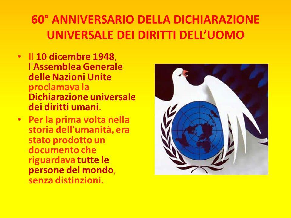 60° ANNIVERSARIO DELLA DICHIARAZIONE UNIVERSALE DEI DIRITTI DELLUOMO La Dichiarazione Universale dei Diritti Umani è un documento, firmato a Parigi il