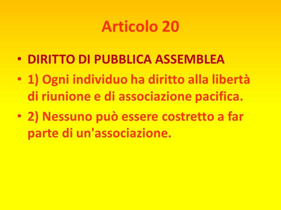 Articolo 19 LIBERTÀ DI ESPRESSIONE Ogni individuo ha diritto alla libertà di opinione e di espressione incluso il diritto di non essere molestato per