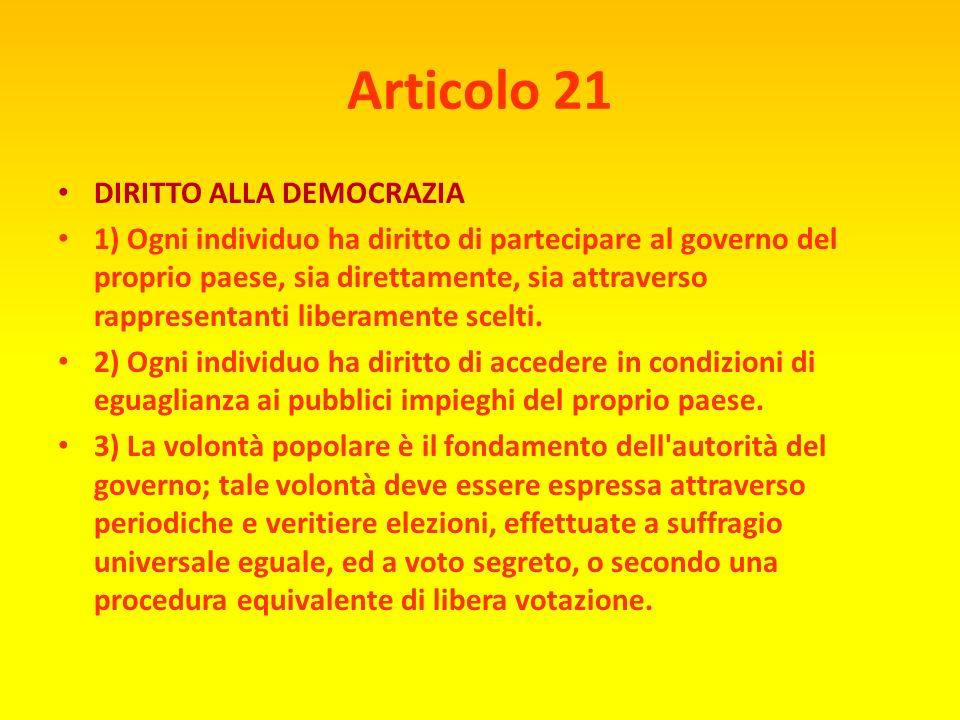 Articolo 20 DIRITTO DI PUBBLICA ASSEMBLEA 1) Ogni individuo ha diritto alla libertà di riunione e di associazione pacifica. 2) Nessuno può essere cost