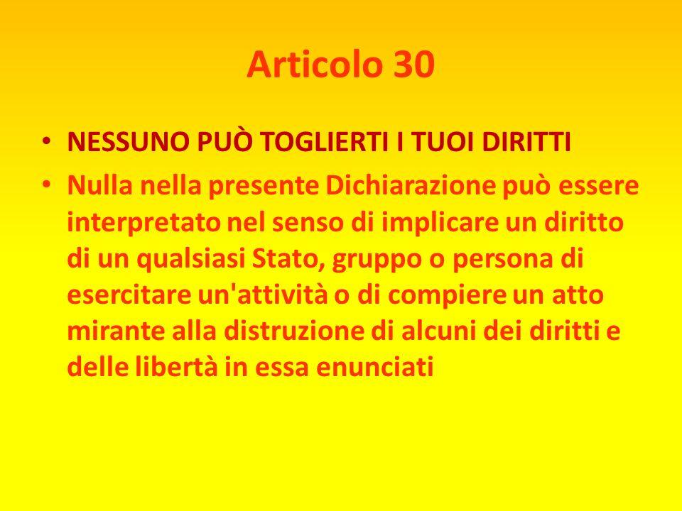 Articolo 29 RESPONSABILITÀ 1 ) Ogni individuo ha dei doveri verso la comunità, nella quale soltanto è possibile il libero e pieno sviluppo della sua p