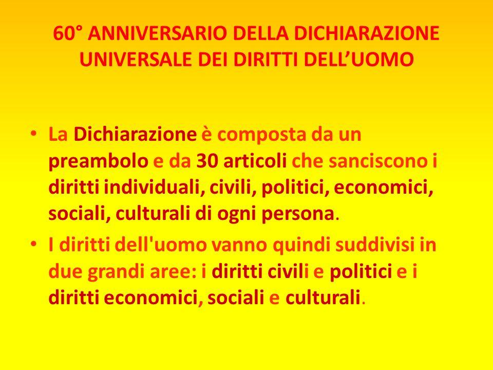 La Dichiarazione è composta da un preambolo e da 30 articoli che sanciscono i diritti individuali, civili, politici, economici, sociali, culturali di ogni persona.