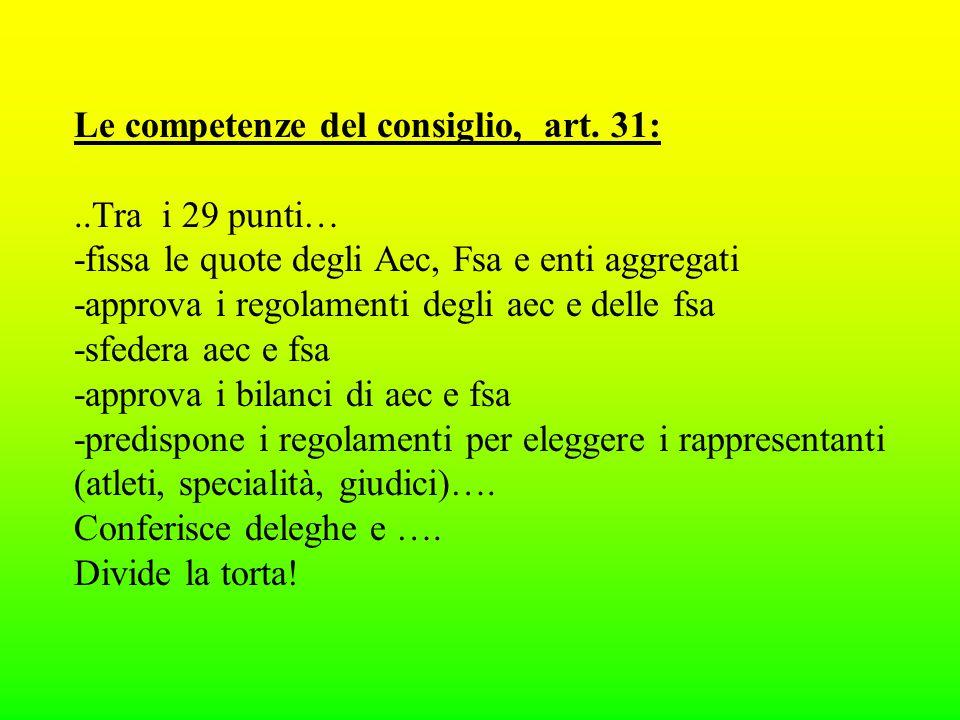 Le competenze del consiglio, art.