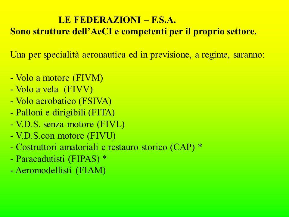 LE FEDERAZIONI – F.S.A. Sono strutture dellAeCI e competenti per il proprio settore.