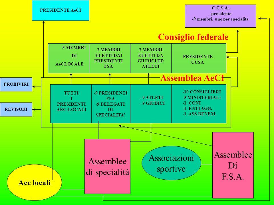 Aec locali Associazioni sportive Assemblee di specialità Assemblee Di F.S.A.
