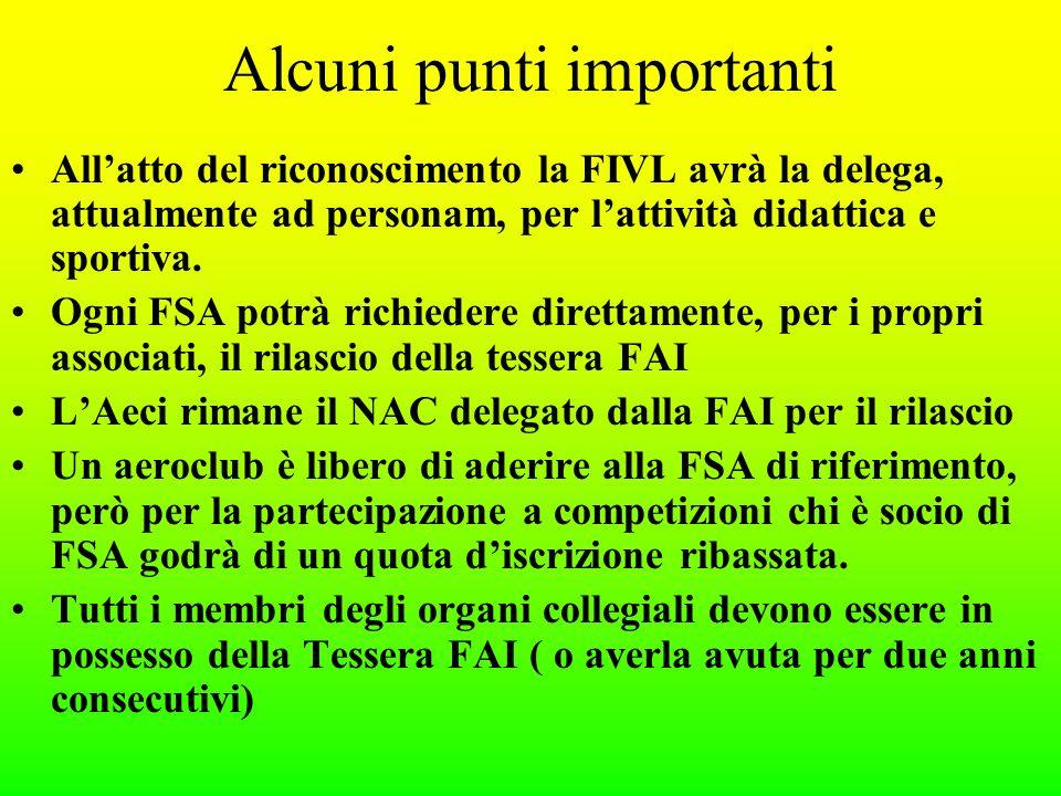 Alcuni punti importanti Allatto del riconoscimento la FIVL avrà la delega, attualmente ad personam, per lattività didattica e sportiva.
