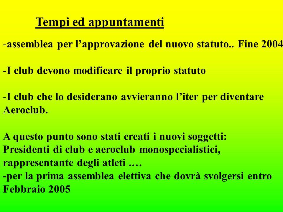 Tempi ed appuntamenti -assemblea per lapprovazione del nuovo statuto..