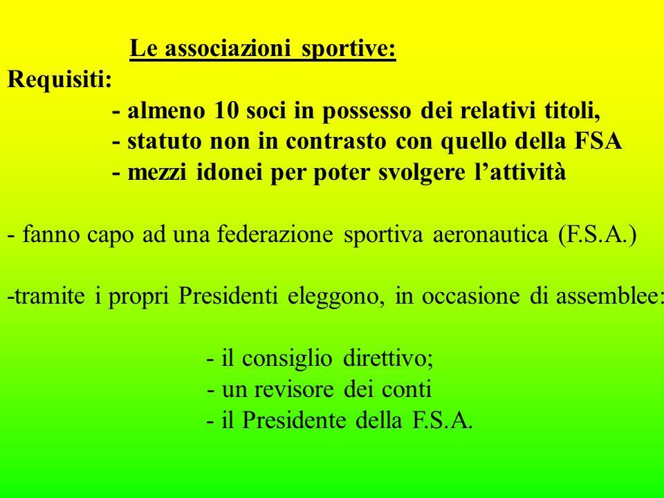 Le associazioni sportive: Requisiti: - almeno 10 soci in possesso dei relativi titoli, - statuto non in contrasto con quello della FSA - mezzi idonei per poter svolgere lattività - fanno capo ad una federazione sportiva aeronautica (F.S.A.) -tramite i propri Presidenti eleggono, in occasione di assemblee: - il consiglio direttivo; - un revisore dei conti - il Presidente della F.S.A.