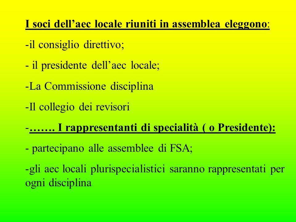I soci dellaec locale riuniti in assemblea eleggono: -il consiglio direttivo; - il presidente dellaec locale; -La Commissione disciplina -Il collegio dei revisori -…….