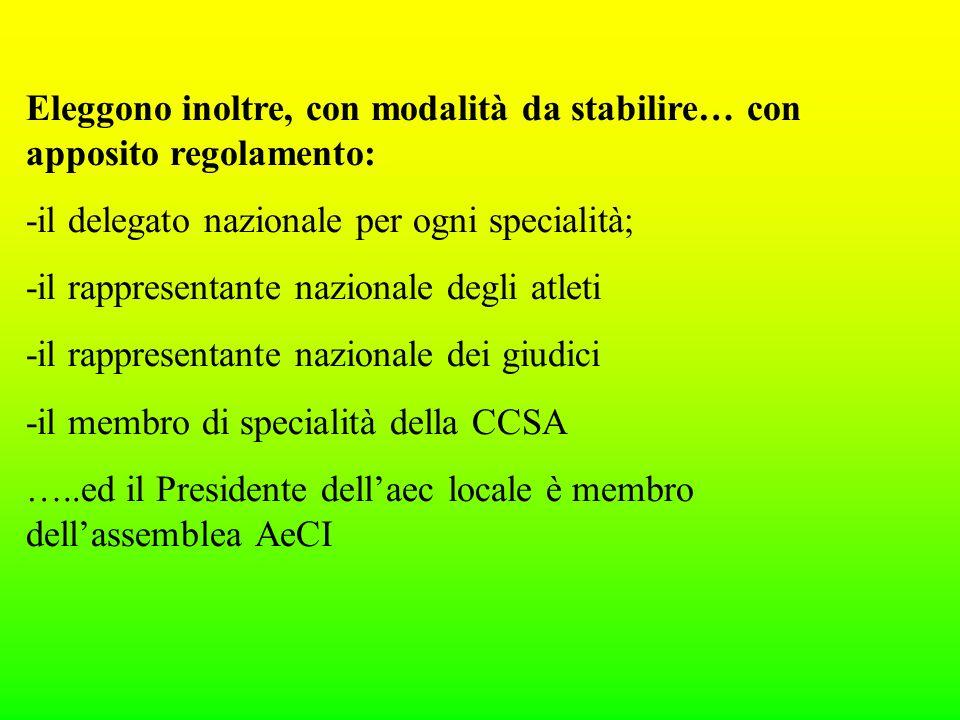 Eleggono inoltre, con modalità da stabilire… con apposito regolamento: -il delegato nazionale per ogni specialità; -il rappresentante nazionale degli atleti -il rappresentante nazionale dei giudici -il membro di specialità della CCSA …..ed il Presidente dellaec locale è membro dellassemblea AeCI
