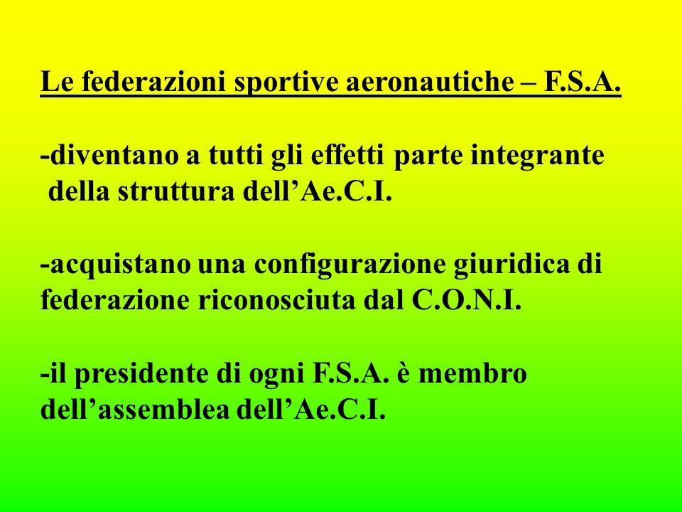 Le federazioni sportive aeronautiche – F.S.A.