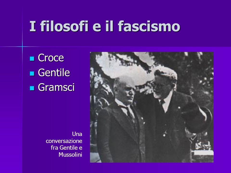 I filosofi e il fascismo Croce Croce Gentile Gentile Gramsci Gramsci Una conversazione fra Gentile e Mussolini