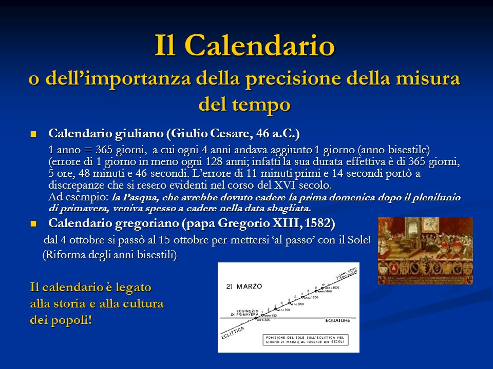 Il Calendario o dellimportanza della precisione della misura del tempo Calendario giuliano (Giulio Cesare, 46 a.C.) Calendario giuliano (Giulio Cesare, 46 a.C.) 1 anno = 365 giorni, a cui ogni 4 anni andava aggiunto 1 giorno (anno bisestile) (errore di 1 giorno in meno ogni 128 anni; infatti la sua durata effettiva è di 365 giorni, 5 ore, 48 minuti e 46 secondi.
