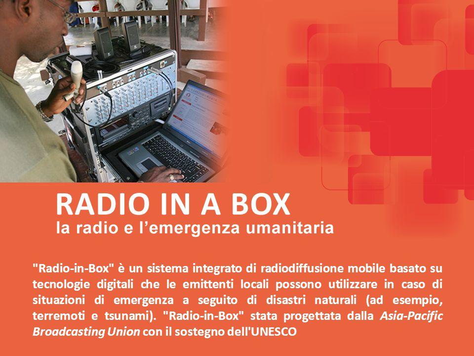 Radio-in-Box è un sistema integrato di radiodiffusione mobile basato su tecnologie digitali che le emittenti locali possono utilizzare in caso di situazioni di emergenza a seguito di disastri naturali (ad esempio, terremoti e tsunami).