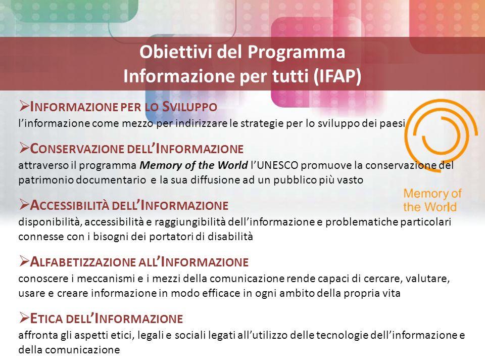 Obiettivi del Programma Informazione per tutti (IFAP) I NFORMAZIONE PER LO S VILUPPO linformazione come mezzo per indirizzare le strategie per lo sviluppo dei paesi C ONSERVAZIONE DELL I NFORMAZIONE attraverso il programma Memory of the World lUNESCO promuove la conservazione del patrimonio documentario e la sua diffusione ad un pubblico più vasto A CCESSIBILITÀ DELL I NFORMAZIONE disponibilità, accessibilità e raggiungibilità dellinformazione e problematiche particolari connesse con i bisogni dei portatori di disabilità A LFABETIZZAZIONE ALL I NFORMAZIONE conoscere i meccanismi e i mezzi della comunicazione rende capaci di cercare, valutare, usare e creare informazione in modo efficace in ogni ambito della propria vita E TICA DELL I NFORMAZIONE affronta gli aspetti etici, legali e sociali legati allutilizzo delle tecnologie dellinformazione e della comunicazione