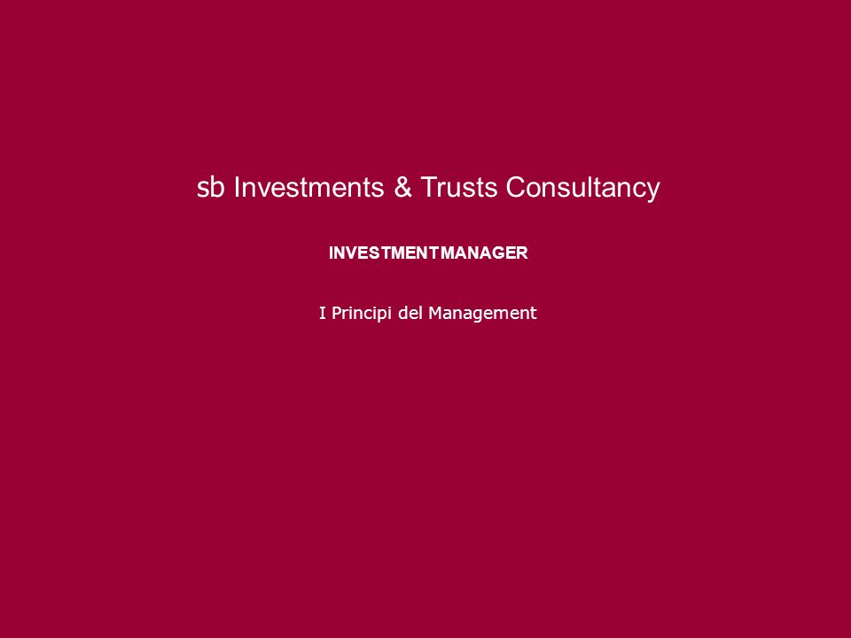 sb Investments & Trusts Consultancy INVESTMENT MANAGER I Principi del Management