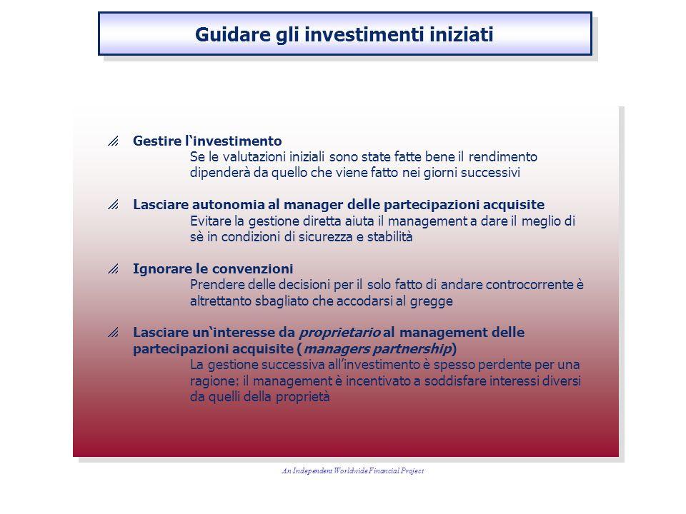 Gestire linvestimento Se le valutazioni iniziali sono state fatte bene il rendimento dipenderà da quello che viene fatto nei giorni successivi Lasciar