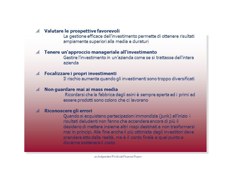 Valutare le prospettive favorevoli La gestione efficace dellinvestimento permette di ottenere risultati ampiamente superiori alla media e duraturi Ten