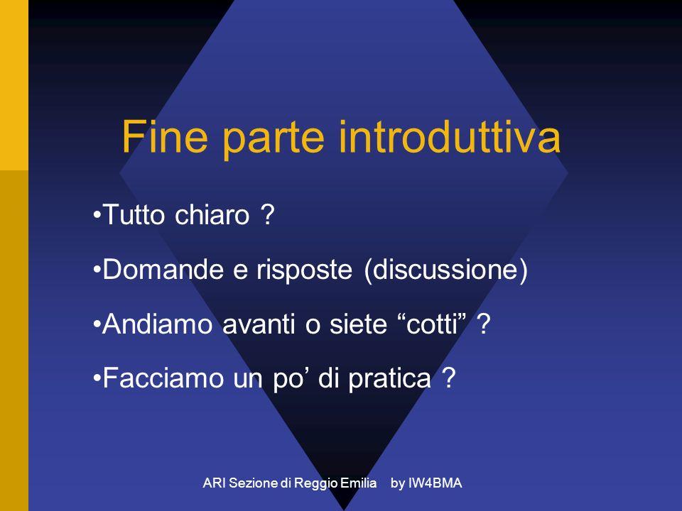 ARI Sezione di Reggio Emilia by IW4BMA Fine parte introduttiva Tutto chiaro ? Domande e risposte (discussione) Andiamo avanti o siete cotti ? Facciamo