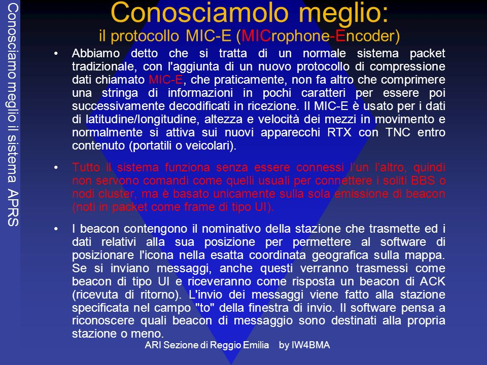 ARI Sezione di Reggio Emilia by IW4BMA Conosciamolo meglio: il protocollo MIC-E (MICrophone-Encoder) Abbiamo detto che si tratta di un normale sistema packet tradizionale, con l aggiunta di un nuovo protocollo di compressione dati chiamato MIC-E, che praticamente, non fa altro che comprimere una stringa di informazioni in pochi caratteri per essere poi successivamente decodificati in ricezione.