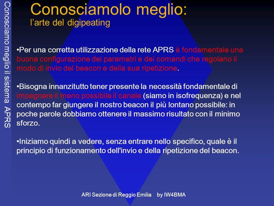 ARI Sezione di Reggio Emilia by IW4BMA Conosciamolo meglio: larte del digipeating Per una corretta utilizzazione della rete APRS è fondamentale una buona configurazione dei parametri e dei comandi che regolano il modo di invio del beacon e della sua ripetizione.