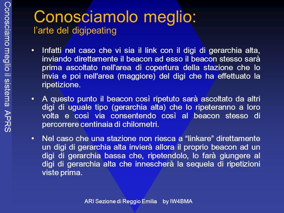 ARI Sezione di Reggio Emilia by IW4BMA Conosciamolo meglio: larte del digipeating Infatti nel caso che vi sia il link con il digi di gerarchia alta, i