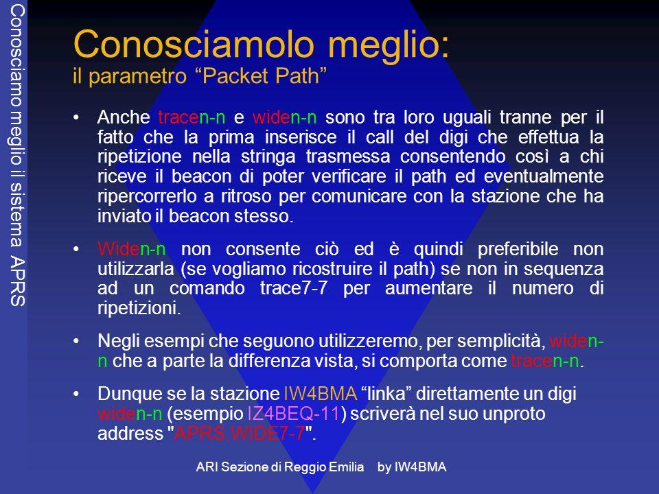 ARI Sezione di Reggio Emilia by IW4BMA Conosciamolo meglio: il parametro Packet Path Anche tracen-n e widen-n sono tra loro uguali tranne per il fatto