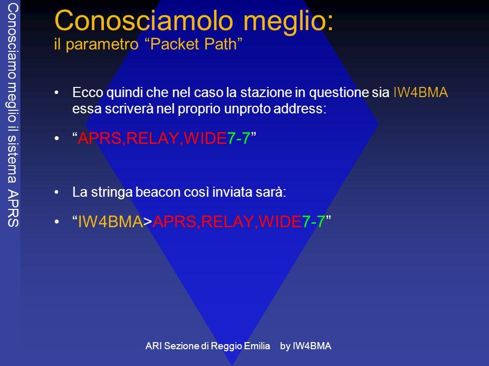 ARI Sezione di Reggio Emilia by IW4BMA Conosciamolo meglio: il parametro Packet Path Ecco quindi che nel caso la stazione in questione sia IW4BMA essa scriverà nel proprio unproto address: APRS,RELAY,WIDE7-7 La stringa beacon così inviata sarà: IW4BMA>APRS,RELAY,WIDE7-7 Conosciamo meglio il sistema APRS