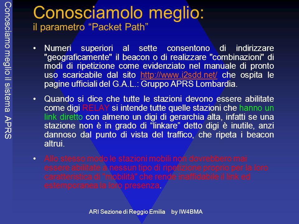 ARI Sezione di Reggio Emilia by IW4BMA Conosciamolo meglio: il parametro Packet Path Numeri superiori al sette consentono di indirizzare