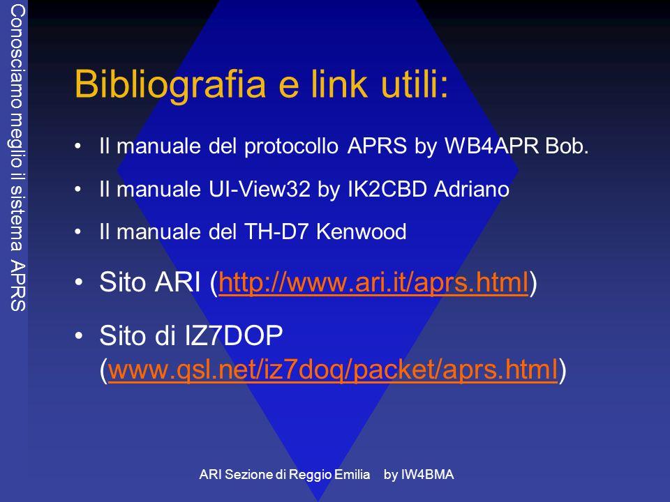 ARI Sezione di Reggio Emilia by IW4BMA Bibliografia e link utili: Il manuale del protocollo APRS by WB4APR Bob. Il manuale UI-View32 by IK2CBD Adriano