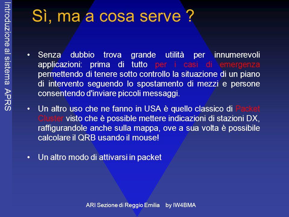 ARI Sezione di Reggio Emilia by IW4BMA Conosciamolo meglio: il parametro Packet Path Numeri superiori al sette consentono di indirizzare geograficamente il beacon o di realizzare combinazioni di modi di ripetizione come evidenziato nel manuale di pronto uso scaricabile dal sito http://www.i2sdd.net/ che ospita le pagine ufficiali del G.A.L.: Gruppo APRS Lombardia.http://www.i2sdd.net/ Quando si dice che tutte le stazioni devono essere abilitate come digi RELAY si intende tutte quelle stazioni che hanno un link diretto con almeno un digi di gerarchia alta, infatti se una stazione non è in grado di linkare detto digi è inutile, anzi dannoso dal punto di vista del traffico, che ripeta i beacon altrui.