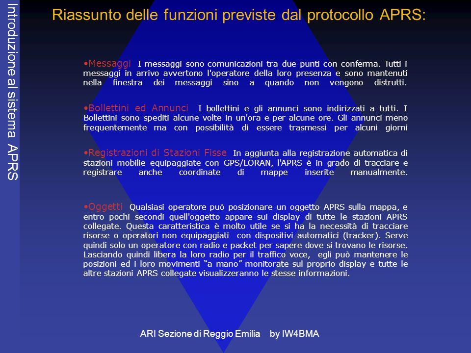 ARI Sezione di Reggio Emilia by IW4BMA Riassunto delle funzioni previste dal protocollo APRS: Messaggi I messaggi sono comunicazioni tra due punti con conferma.
