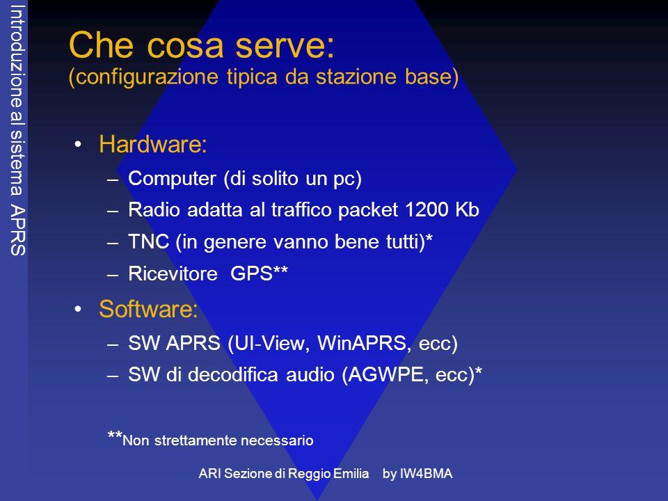 ARI Sezione di Reggio Emilia by IW4BMA Che cosa serve: (configurazione tipica da stazione base) Hardware: –Computer (di solito un pc) –Radio adatta al traffico packet 1200 Kb –TNC (in genere vanno bene tutti)* –Ricevitore GPS** Software: –SW APRS (UI-View, WinAPRS, ecc) –SW di decodifica audio (AGWPE, ecc)* ** Non strettamente necessario Introduzione al sistema APRS