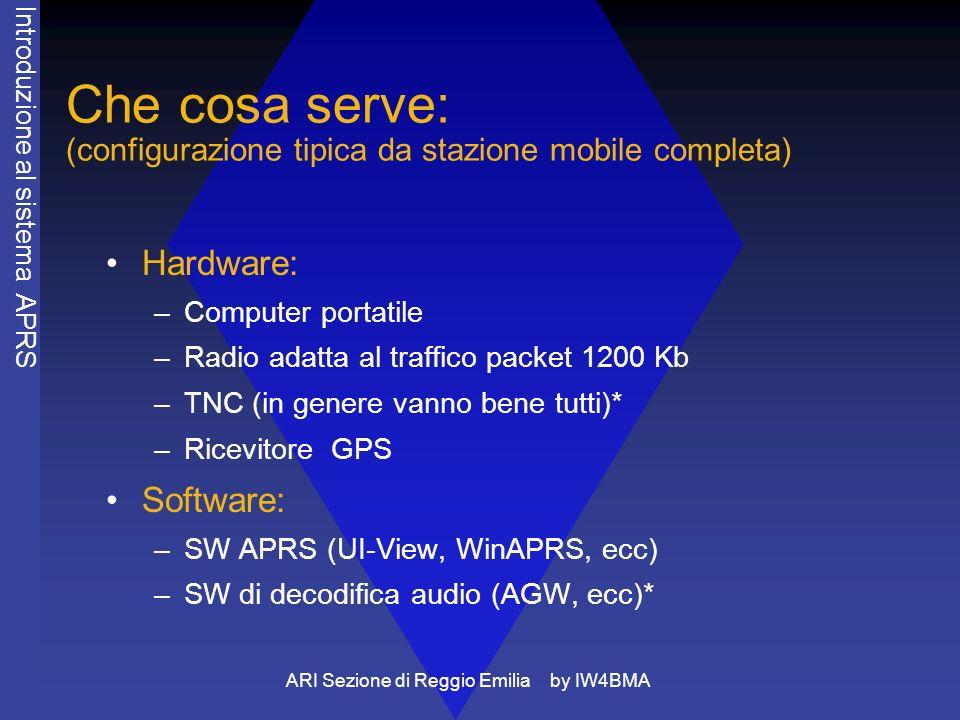 ARI Sezione di Reggio Emilia by IW4BMA Che cosa serve: (configurazione tipica da stazione mobile completa) Hardware: –Computer portatile –Radio adatta al traffico packet 1200 Kb –TNC (in genere vanno bene tutti)* –Ricevitore GPS Software: –SW APRS (UI-View, WinAPRS, ecc) –SW di decodifica audio (AGW, ecc)* Introduzione al sistema APRS