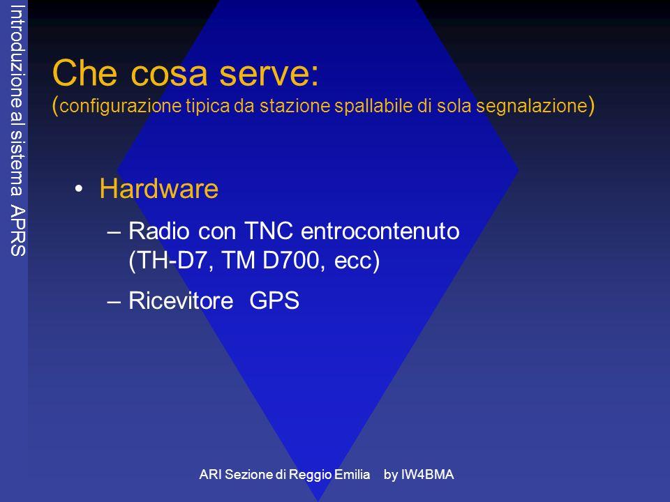 ARI Sezione di Reggio Emilia by IW4BMA Che cosa serve: (configurazione tipica da stazione SWL fissa) Hardware –Computer (di solito un pc) con SW aprs –Ricevitore adatto al traffico packet 1200 Kb –TNC e / o –Connessione internet Introduzione al sistema APRS