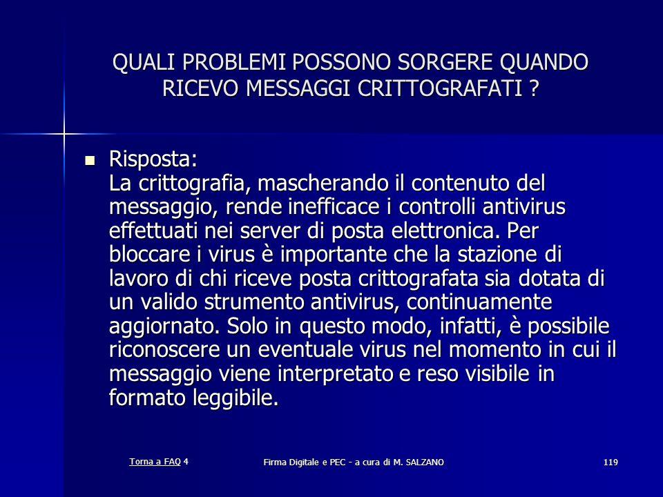 Firma Digitale e PEC - a cura di M. SALZANO119 QUALI PROBLEMI POSSONO SORGERE QUANDO RICEVO MESSAGGI CRITTOGRAFATI ? Risposta: La crittografia, masche