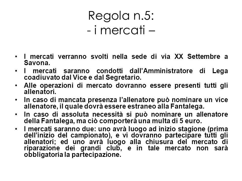 Regola n.5: - i mercati – I mercati verranno svolti nella sede di via XX Settembre a Savona.