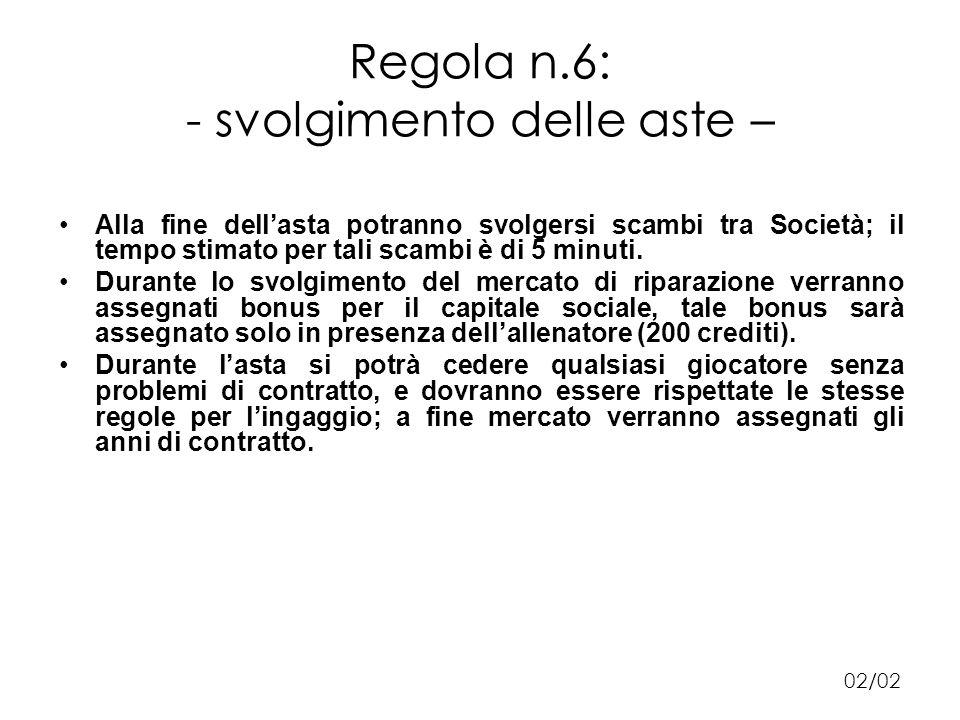 Regola n.6: - svolgimento delle aste – Alla fine dellasta potranno svolgersi scambi tra Società; il tempo stimato per tali scambi è di 5 minuti.
