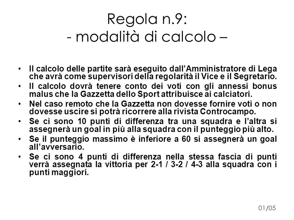 Regola n.9: - modalità di calcolo – Il calcolo delle partite sarà eseguito dallAmministratore di Lega che avrà come supervisori della regolarità il Vice e il Segretario.