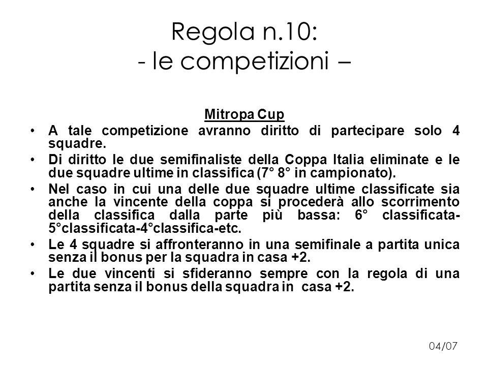 Regola n.10: - le competizioni – Mitropa Cup A tale competizione avranno diritto di partecipare solo 4 squadre.
